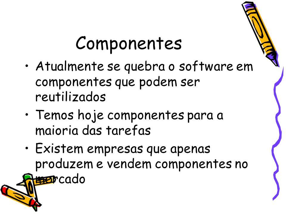 Componentes Atualmente se quebra o software em componentes que podem ser reutilizados Temos hoje componentes para a maioria das tarefas Existem empresas que apenas produzem e vendem componentes no mercado