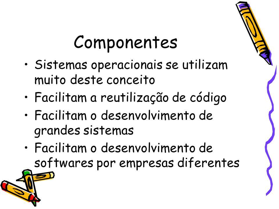 Componentes Sistemas operacionais se utilizam muito deste conceito Facilitam a reutilização de código Facilitam o desenvolvimento de grandes sistemas Facilitam o desenvolvimento de softwares por empresas diferentes