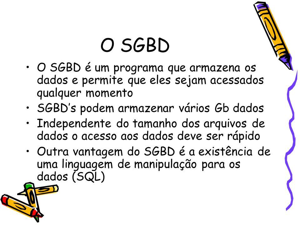 O SGBD O SGBD é um programa que armazena os dados e permite que eles sejam acessados qualquer momento SGBD's podem armazenar vários Gb dados Independente do tamanho dos arquivos de dados o acesso aos dados deve ser rápido Outra vantagem do SGBD é a existência de uma linguagem de manipulação para os dados (SQL)