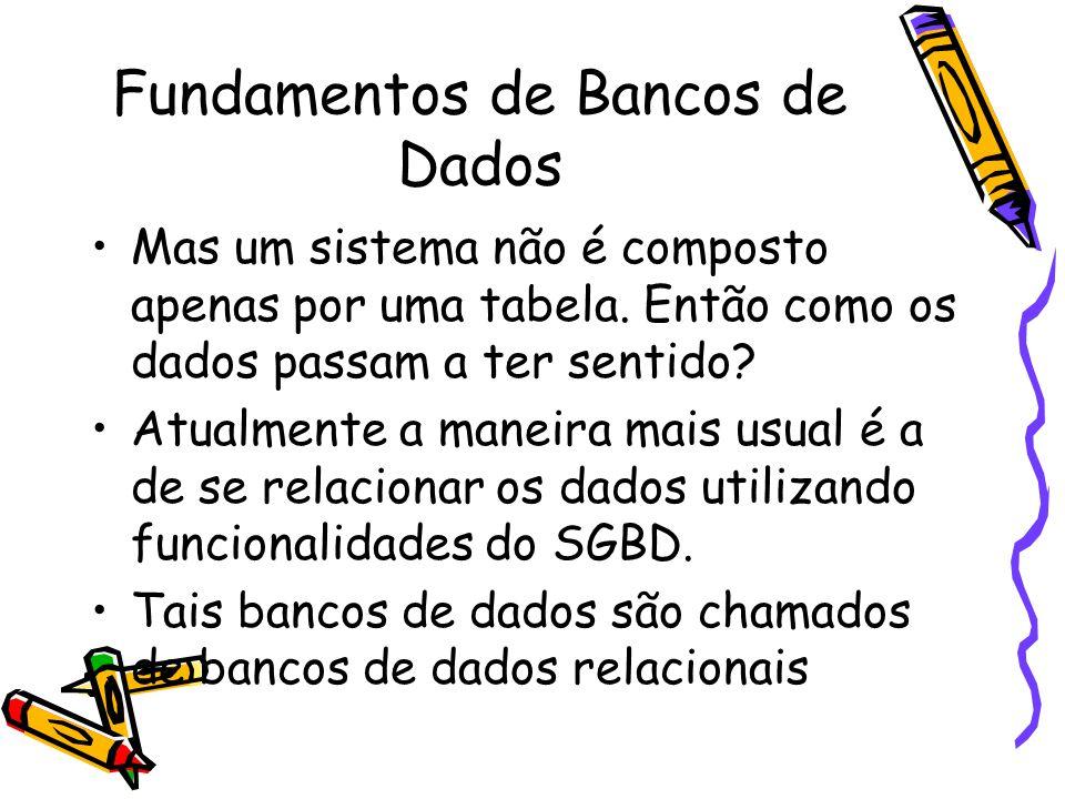 Fundamentos de Bancos de Dados Mas um sistema não é composto apenas por uma tabela.