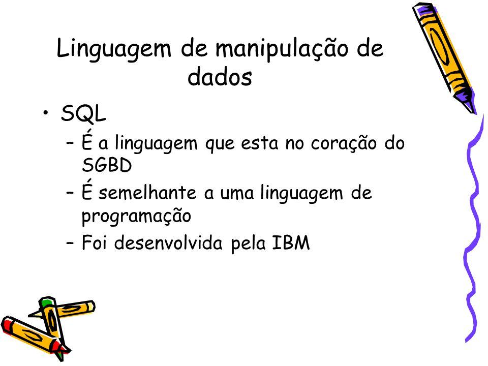 Linguagem de manipulação de dados SQL –É a linguagem que esta no coração do SGBD –É semelhante a uma linguagem de programação –Foi desenvolvida pela IBM