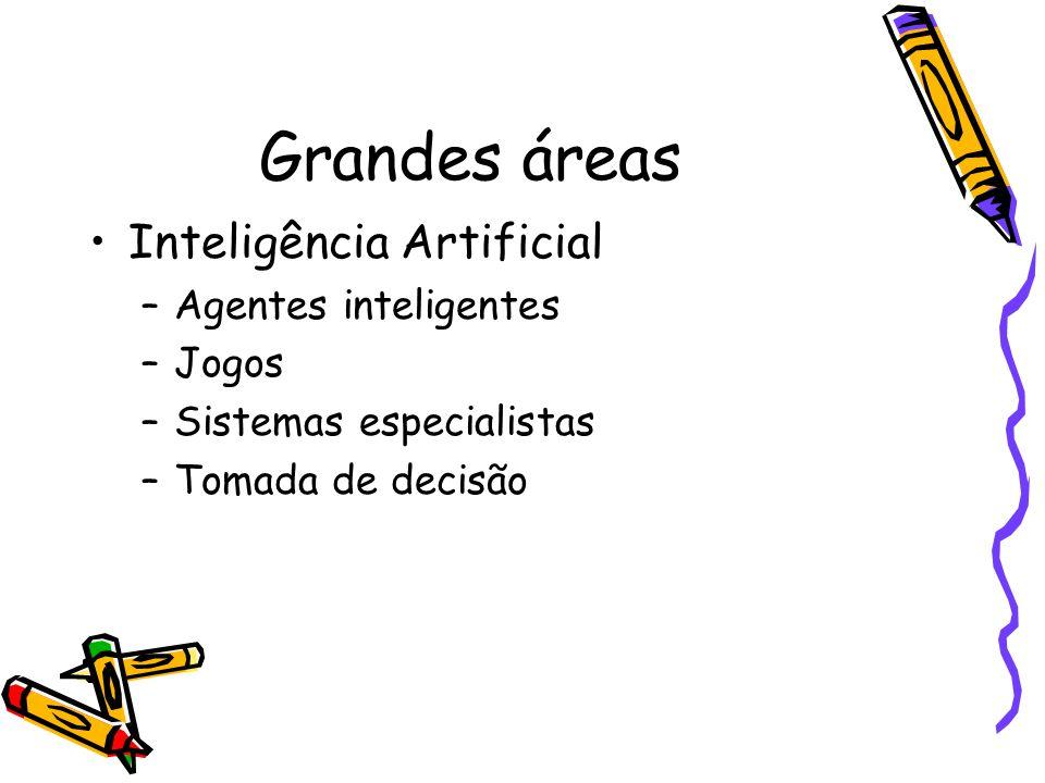 Grandes áreas Inteligência Artificial –Agentes inteligentes –Jogos –Sistemas especialistas –Tomada de decisão