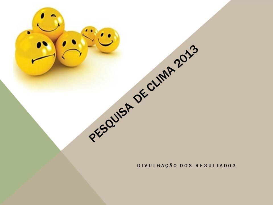 PESQUISA DE CLIMA 2013 DIVULGAÇÃO DOS RESULTADOS