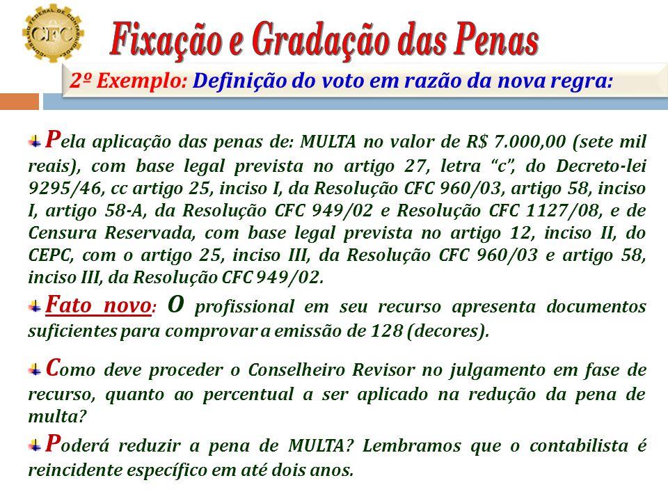 106 2º Exemplo: Julgamento em fase de defesa; Contabilista Reincidente Específico em até 2 (dois) anos; Penalidades no processo anterior: MULTA no val