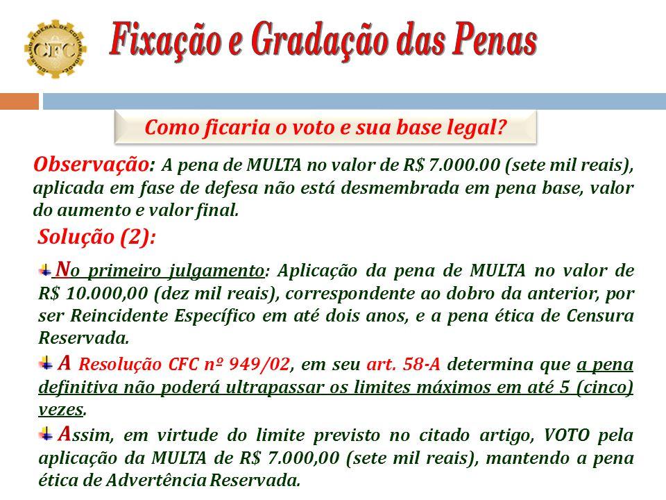 """P ela aplicação das penas de: MULTA no valor de R$ 7.000,00 (sete mil reais), com base legal prevista no artigo 27, letra """"c"""", do Decreto-lei 9295/46,"""