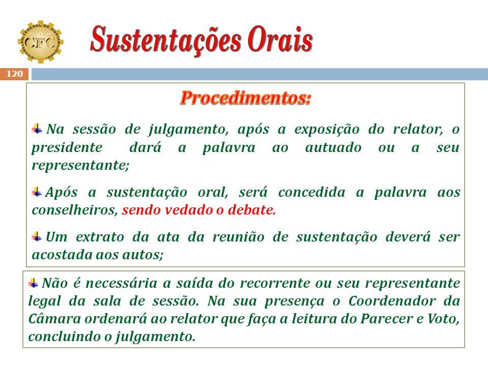 """119 É facultada ao autuado a sustentação oral de recurso."""" (art. 59); A sustentação oral deverá ser requerida por escrito e obedecerá aos seguintes re"""