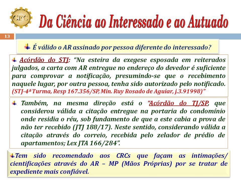 12 Art. 9º Dos atos do processo de que resultem imposição de deveres, ônus, sanções ou restrição ao exercício de direitos e atividades, deverá ser int