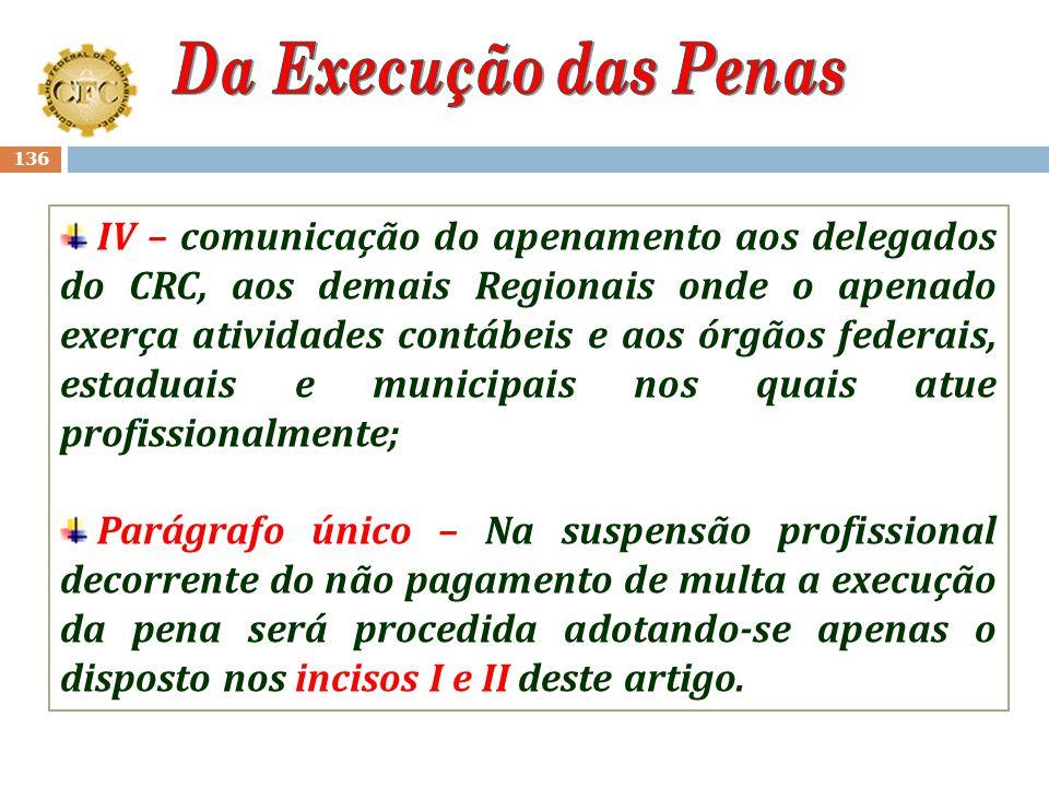 135 Art. 68-D – Para execução da pena de suspensão do exercício profissional e de cancelamento do registro, o CRC adotará as seguintes medidas: I – in