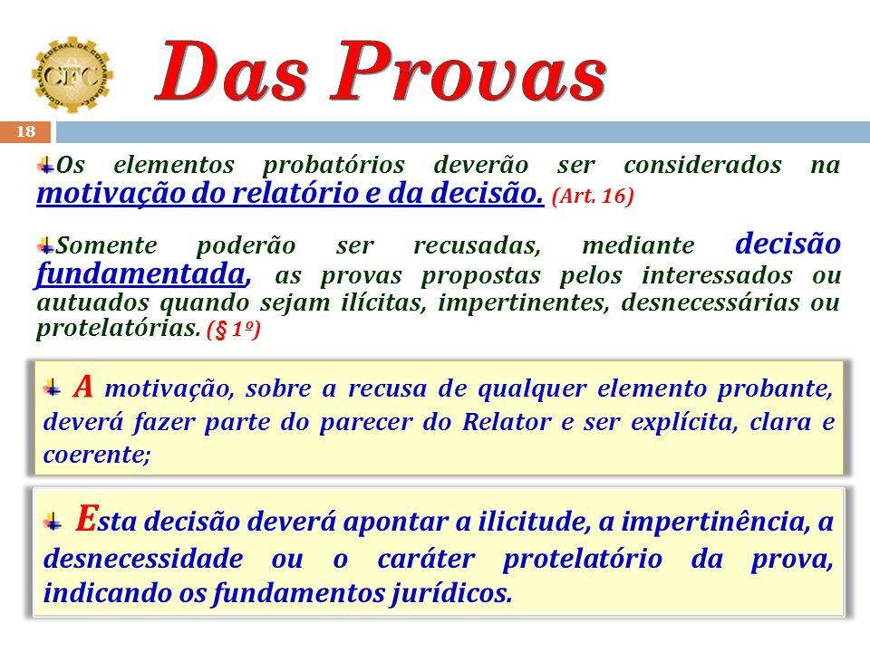 17 Cabe ao interessado ou autuado a prova dos fatos que tenha alegado; (art. 14) Os elementos probatórios somente poderão ser recusados, mediante deci