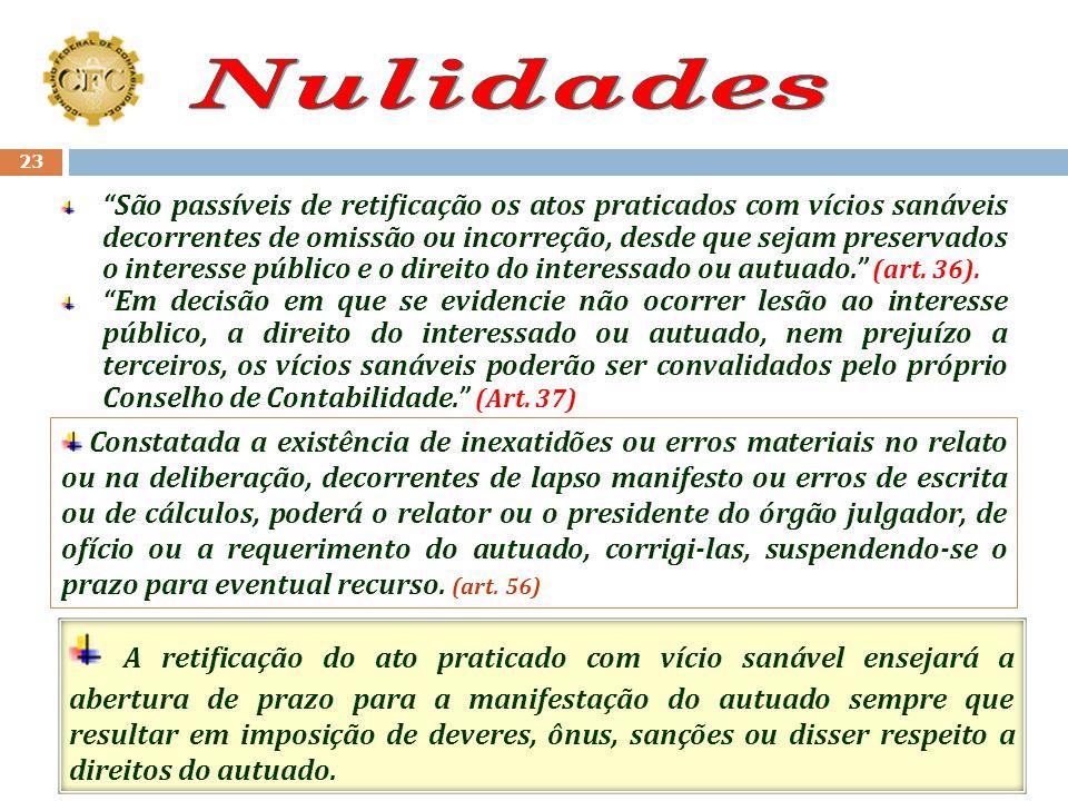 22 São Nulos: (art. 35) I. Os atos praticados por empregado que não tenha competência para fazê-lo; II. As decisões proferidas por autoridade incompet