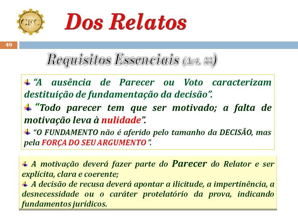 48 O Relato do Conselheiro Relator deverá conter : preâmbulo, relatório, parecer e voto. (Art. 55). O Preâmbulo deverá indicar o número do processo, o