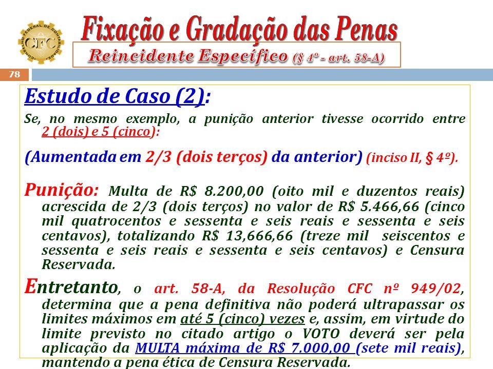77 Estudo de Caso (2): Suponhamos que, no mesmo exemplo, a punição anterior tenha sido de R$ 8.200,00 (oito mil e duzentos reais) e na análise dos aut