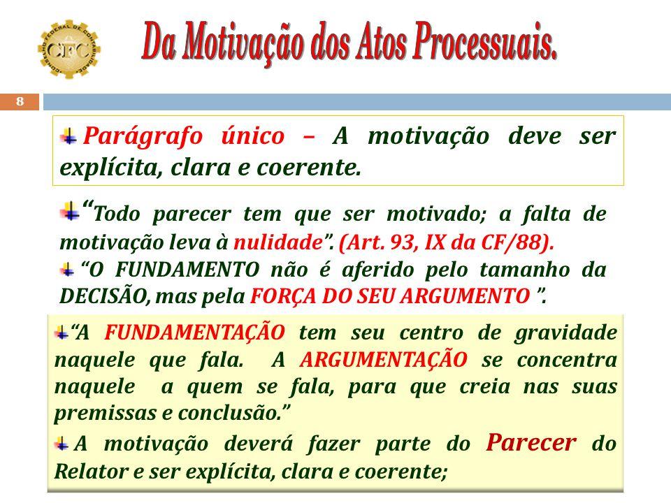 7 Art. 7º Os atos processuais deverão ser motivados, com indicação dos fatos e dos fundamentos jurídicos, quando: I.Afetem direitos ou interesses; II.
