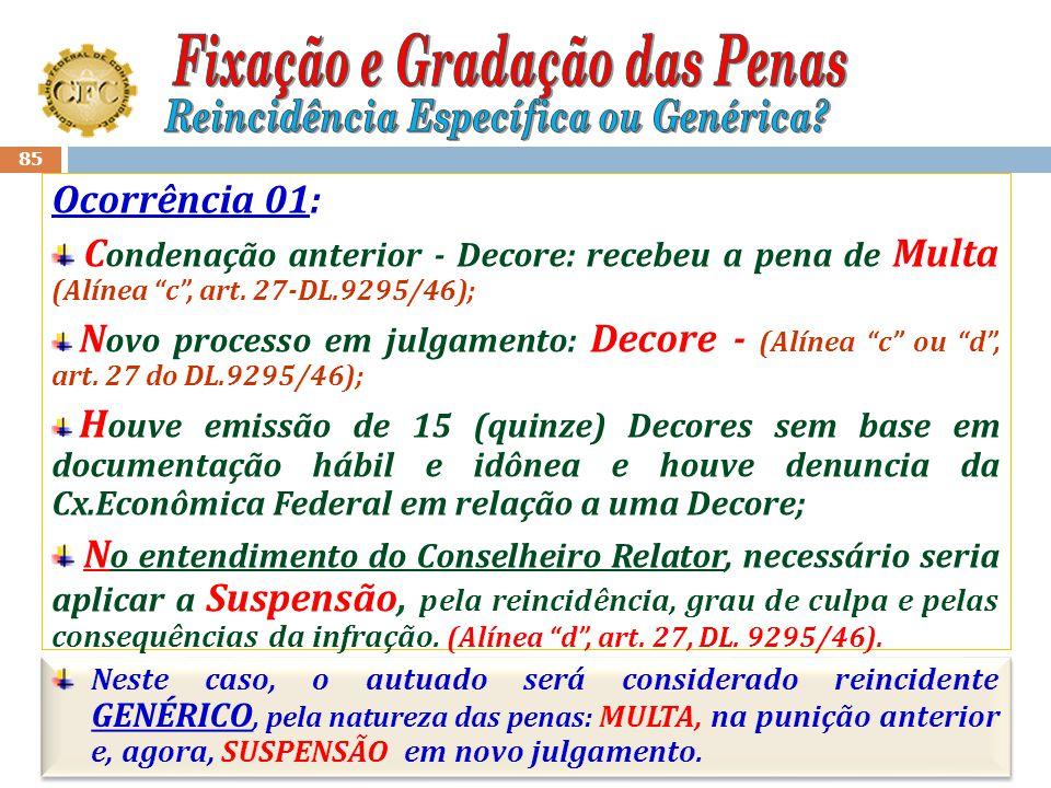 84 Nova autuação (18/11/2008): Fato 1 – 20 (vinte) Decores sem base em documentação hábil e legal; Fato 2 - Deixar de apresentar 05 contratos prestaçã