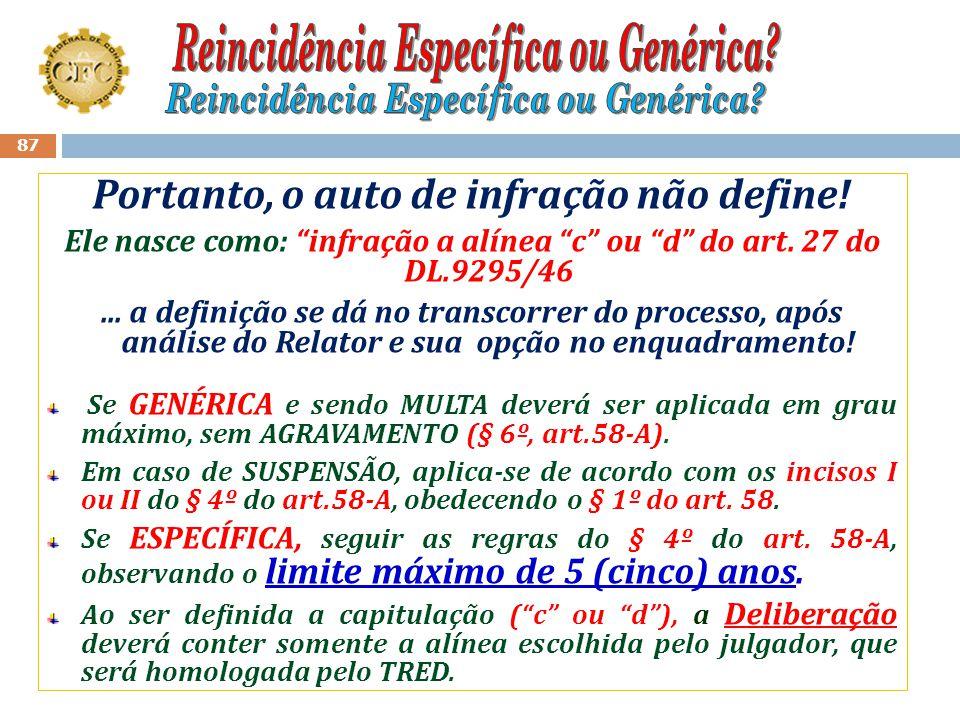 """86 Ocorrência 02: Decore: Condenação anterior: Multa (Alínea """"c"""", art. 27- DL.9295/46); Novo processo em julgamento : Decore - (Alínea """"c"""" ou """"d"""", art"""