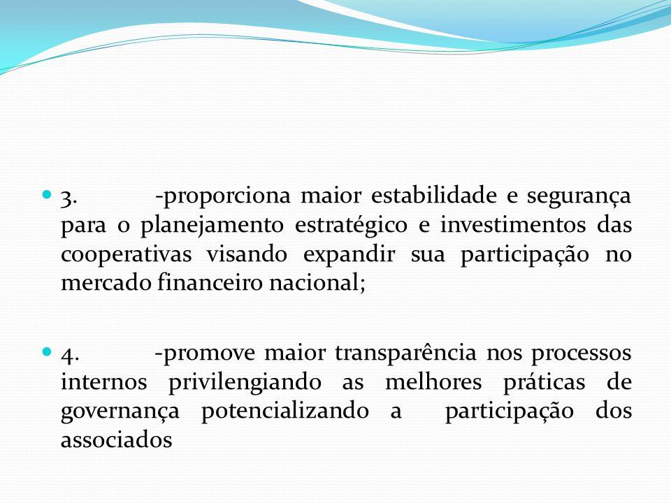 3. -proporciona maior estabilidade e segurança para o planejamento estratégico e investimentos das cooperativas visando expandir sua participação no m