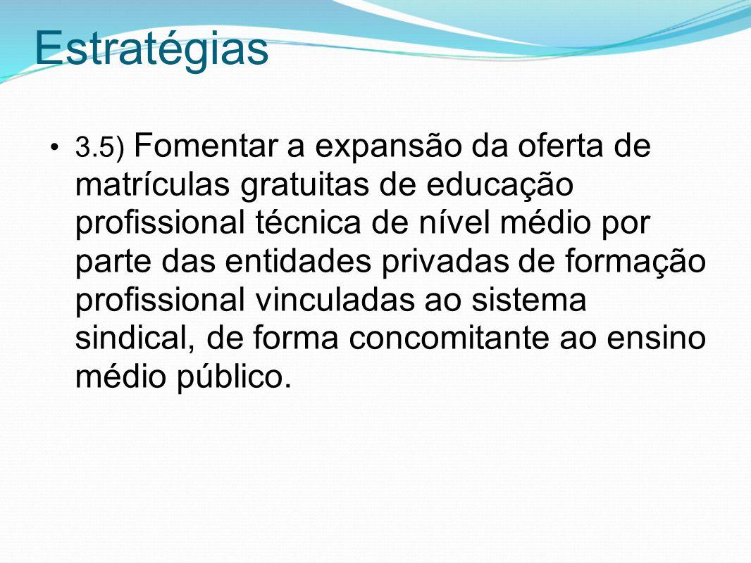Estratégias 3.5) Fomentar a expansão da oferta de matrículas gratuitas de educação profissional técnica de nível médio por parte das entidades privada