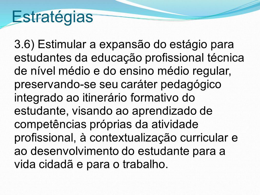 Estratégias 3.6) Estimular a expansão do estágio para estudantes da educação profissional técnica de nível médio e do ensino médio regular, preservand