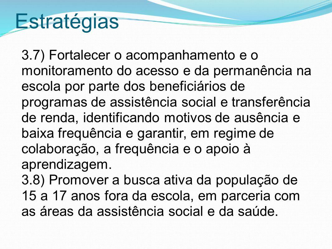 Estratégias 3.7) Fortalecer o acompanhamento e o monitoramento do acesso e da permanência na escola por parte dos beneficiários de programas de assist
