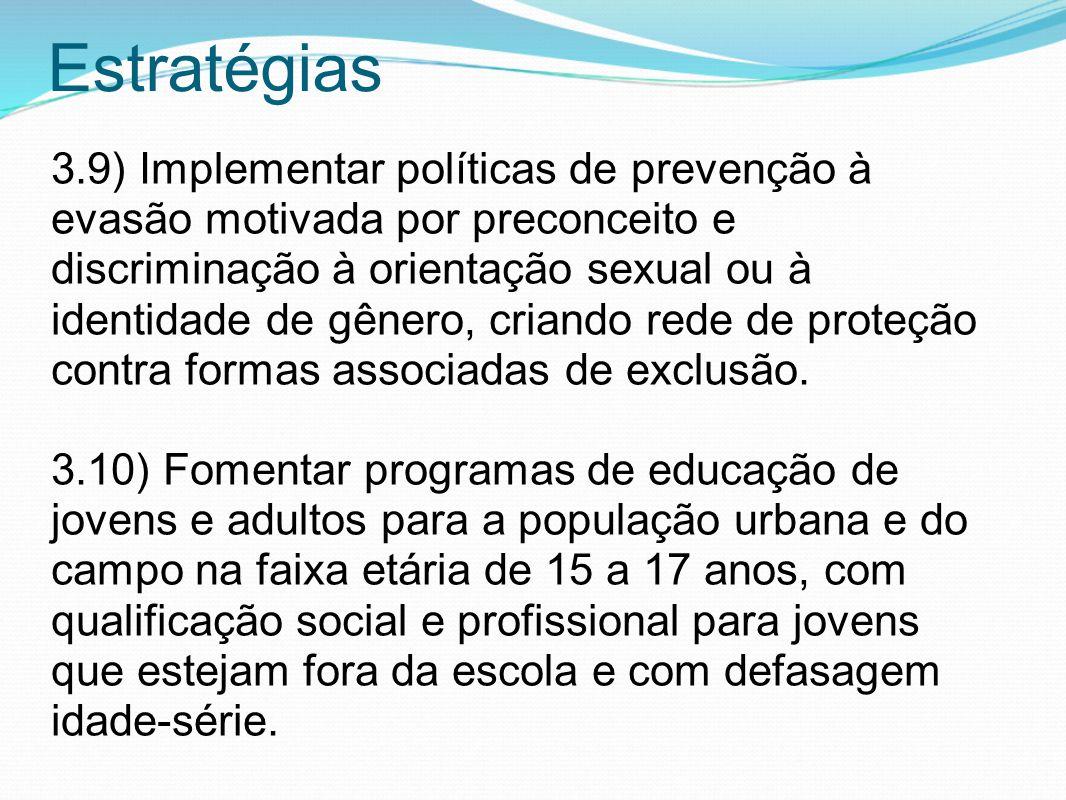 Estratégias 3.9) Implementar políticas de prevenção à evasão motivada por preconceito e discriminação à orientação sexual ou à identidade de gênero, c