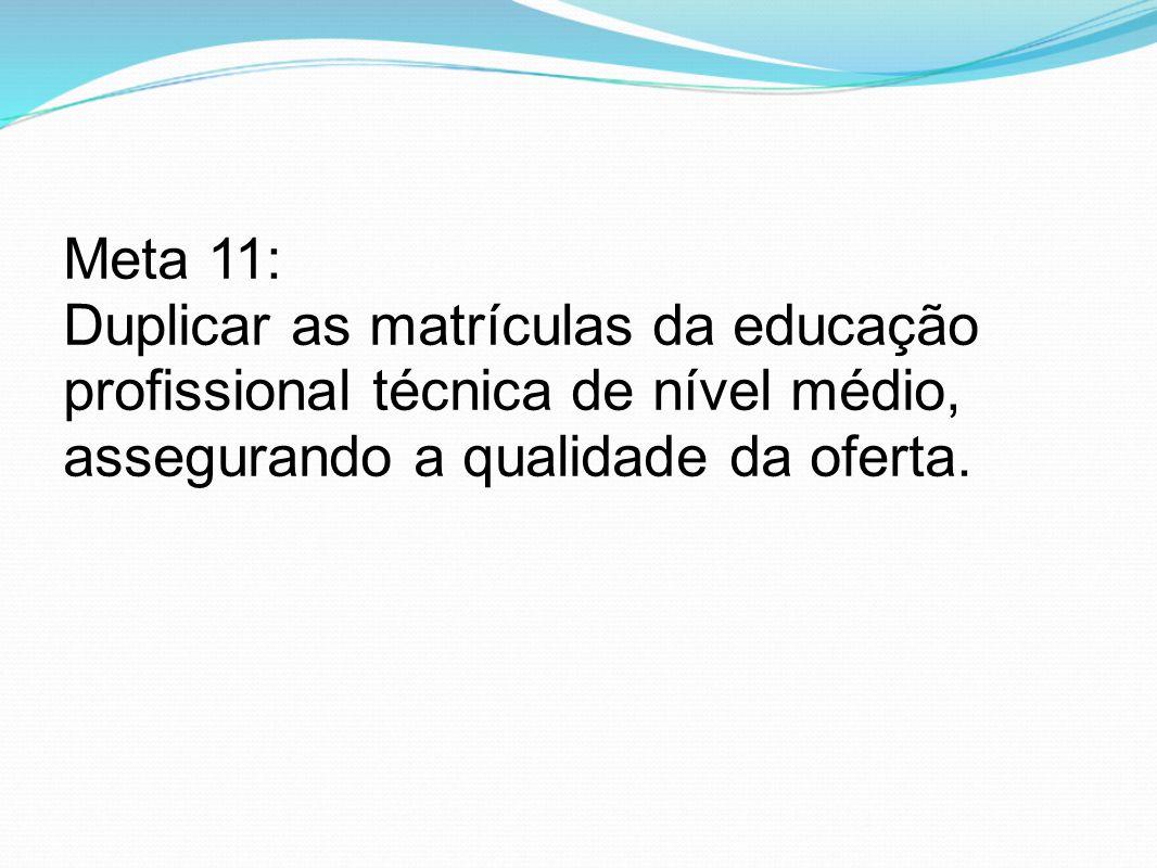 Meta 11: Duplicar as matrículas da educação profissional técnica de nível médio, assegurando a qualidade da oferta.