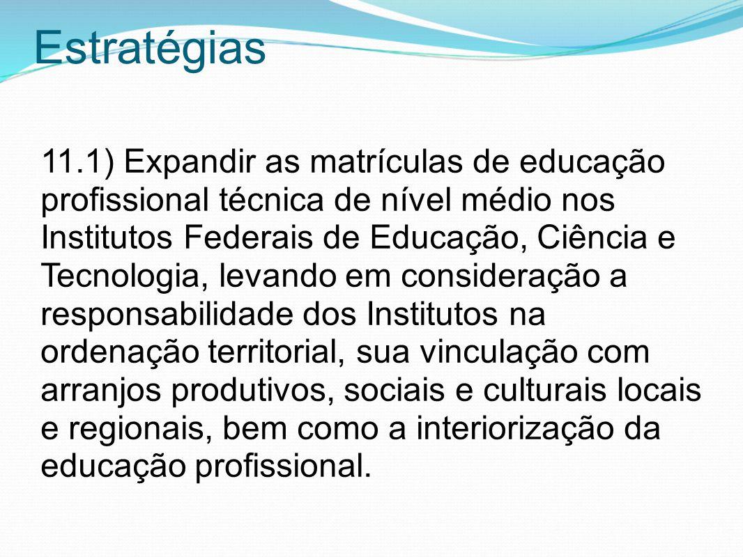 Estratégias 11.1) Expandir as matrículas de educação profissional técnica de nível médio nos Institutos Federais de Educação, Ciência e Tecnologia, le