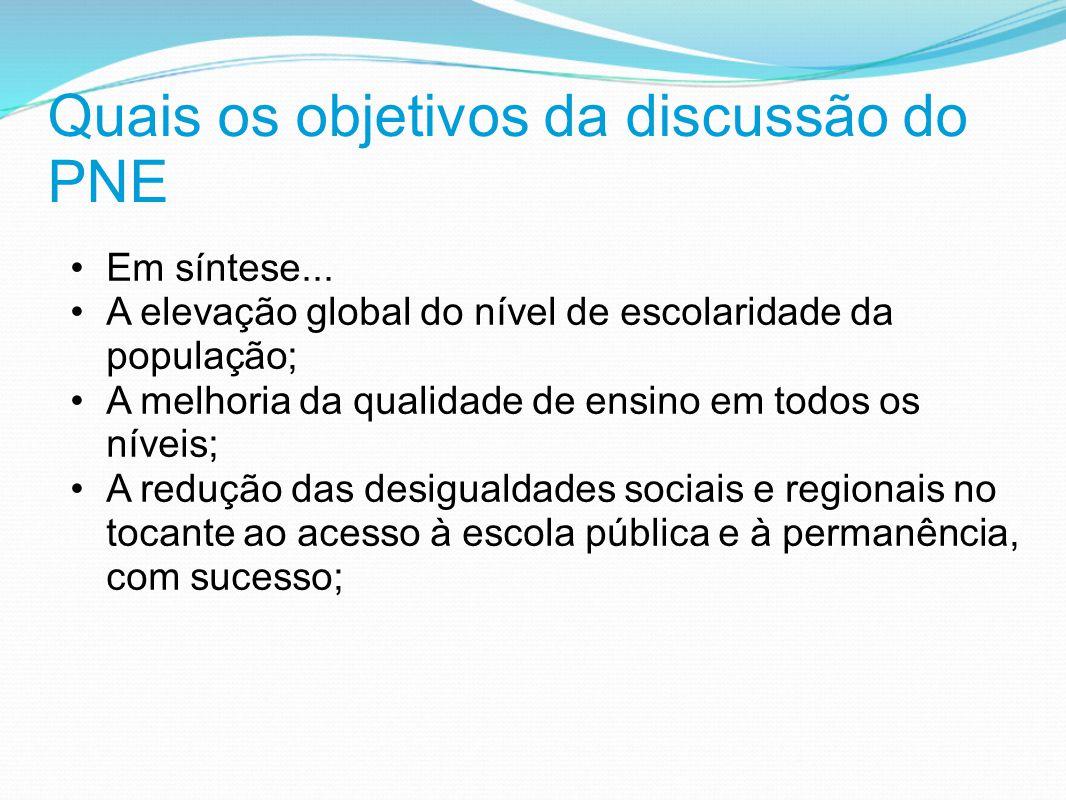 Quais os objetivos da discussão do PNE Em síntese... A elevação global do nível de escolaridade da população; A melhoria da qualidade de ensino em tod