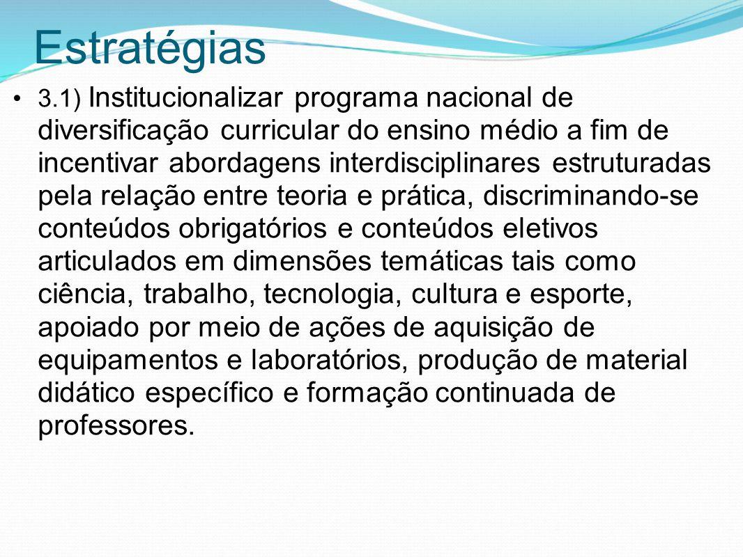 Estratégias 3.1) Institucionalizar programa nacional de diversificação curricular do ensino médio a fim de incentivar abordagens interdisciplinares es