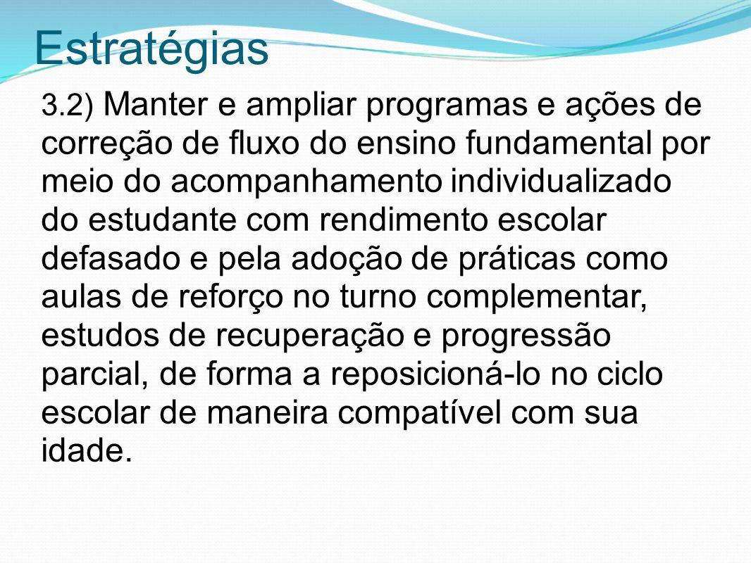 Estratégias 3.2) Manter e ampliar programas e ações de correção de fluxo do ensino fundamental por meio do acompanhamento individualizado do estudante