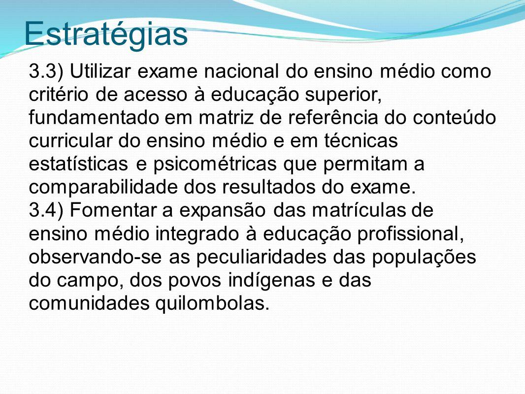 Estratégias 3.3) Utilizar exame nacional do ensino médio como critério de acesso à educação superior, fundamentado em matriz de referência do conteúdo