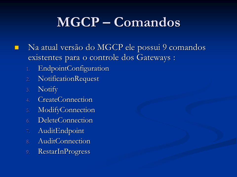MGCP – Comandos Na atual versão do MGCP ele possui 9 comandos existentes para o controle dos Gateways : Na atual versão do MGCP ele possui 9 comandos
