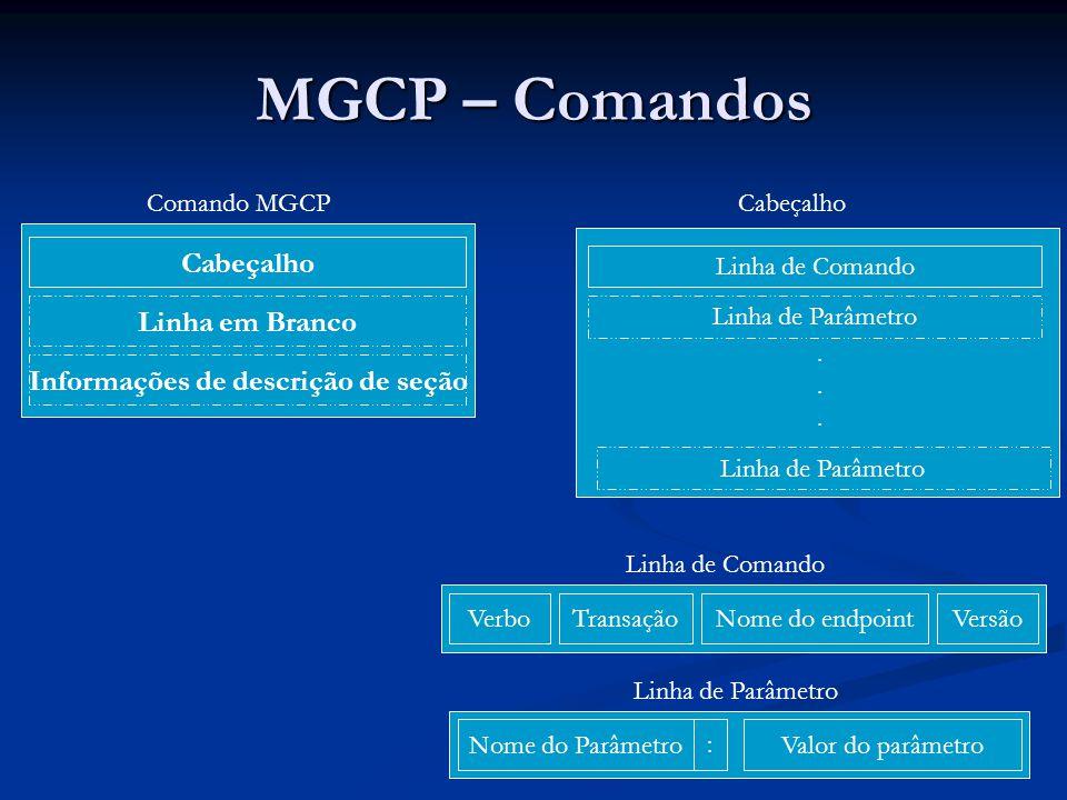 MGCP – Comandos Verbos: Verbos: Os identificadores dos endpoints possuem o seguinte formato: Os identificadores dos endpoints possuem o seguinte formato: local-endpoint-name@domain-name Ex: aaln/1@rgw-2567.whatever.net