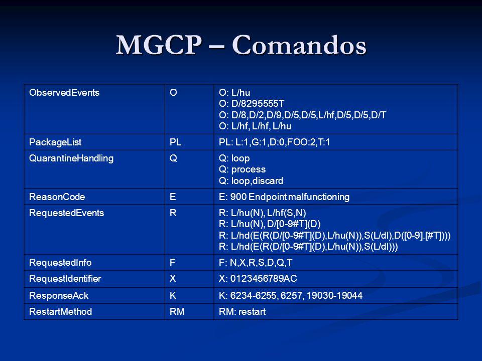 MGCP – Comandos ObservedEventsOO: L/hu O: D/8295555T O: D/8,D/2,D/9,D/5,D/5,L/hf,D/5,D/5,D/T O: L/hf, L/hf, L/hu PackageListPLPL: L:1,G:1,D:0,FOO:2,T: