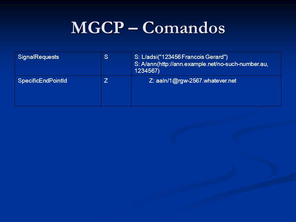 MGCP – Comandos EndpointConfiguration EndpointConfiguration O Agente de Chamada pode enviar um comando de EndpointConfiguration para um Gateway, instruindo o gateway sobre as características de codificação esperadas pela linha do endpoint.