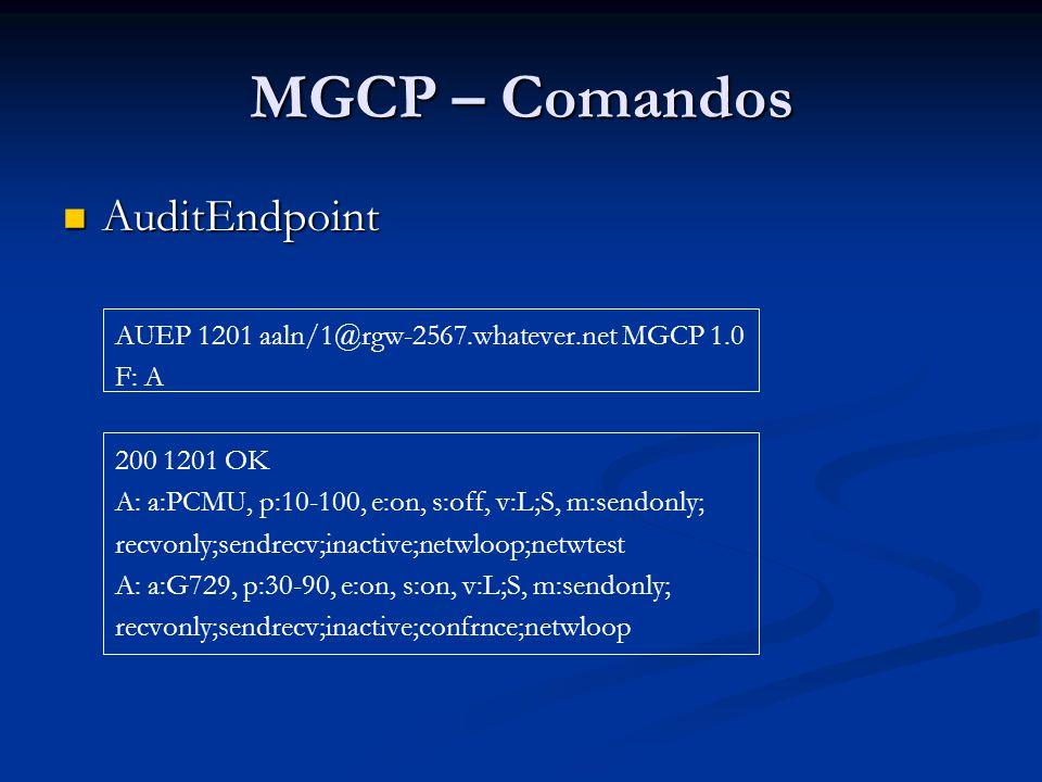 MGCP – Comandos AuditConnection AuditConnection O Agente de Chamadas pode usar o comando AuditConnection para examinar o status de uma conexão associada a ele.
