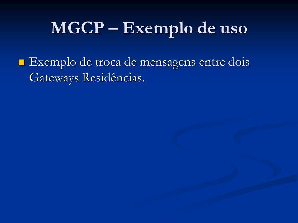 MGCP – Exemplo de uso Exemplo de troca de mensagens entre dois Gateways Residências. Exemplo de troca de mensagens entre dois Gateways Residências.