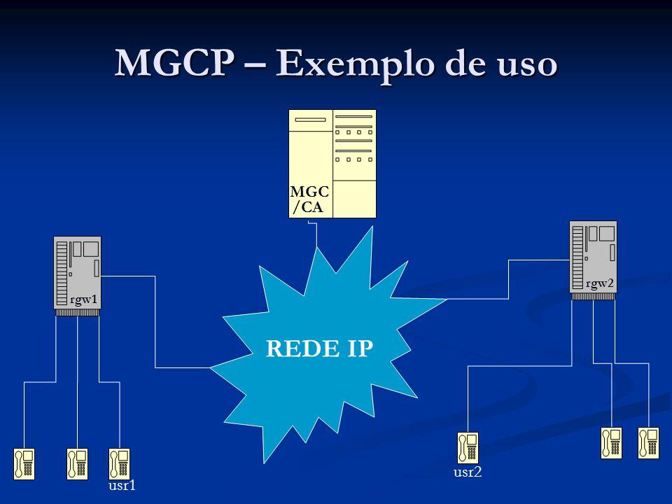MGCP – Exemplo de uso usr1 rgw1 MGC /CA rgw2 usr2 offhook ntfy ackrqnt ack dialtone digits ntfy ackrqnt ack crcx recvonly ack crcx sendrcv ack mdcx recvonly ack rqnt ringback ack rqnt ringing ack offhook ntfy ackrqnt ack rqnt ack mdcx sendrcv ack Passo 1 – Notificação de evento fora de ganchoPasso 2 – Observar on-hook,digitmap e dialtonePasso 3 – Notificação de dígitos discadosPasso 4 – Pede notificação de transições on-hookPasso 5 – Cria uma conexão no modo recvonlyPasso 6 – Cria uma conexão no modo sendrecvPasso 7 – Modifica a conexão interligando as duasPasso 8 – Observa eventos de on-hook e manda tocarPasso 9 – Observa eventos de offhook e manda tocarPasso 10 – Notifica evento offhookPasso 11 – Observa eventos onhookPasso 12 – Observa eventos onhookPasso 13 – Modifica a o modo da conexão p/ sendrecvPodem conversar.
