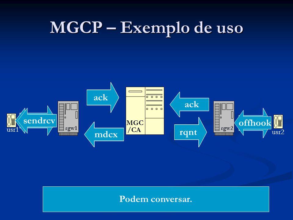 MGCP – Exemplo de uso usr1 rgw1 MGC /CA rgw2 usr2 offhook ntfy ackrqnt ack dialtone digits ntfy ackrqnt ack crcx recvonly ack crcx sendrcv ack mdcx re