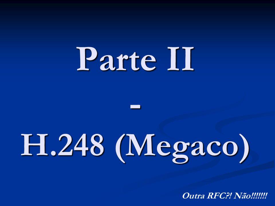 Parte II – H.248(Megaco) Conceito Conceito Histórico Histórico Características Características Comandos Comandos Conclusões Conclusões Bibliografia Bibliografia