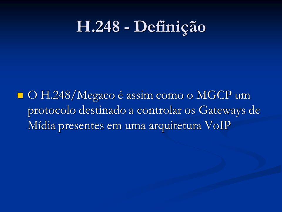 O H.248/Megaco é assim como o MGCP um protocolo destinado a controlar os Gateways de Mídia presentes em uma arquitetura VoIP O H.248/Megaco é assim co