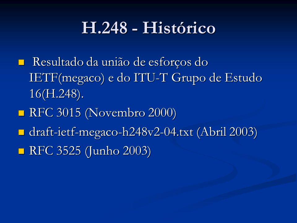 Resultado da união de esforços do IETF(megaco) e do ITU-T Grupo de Estudo 16(H.248). Resultado da união de esforços do IETF(megaco) e do ITU-T Grupo d