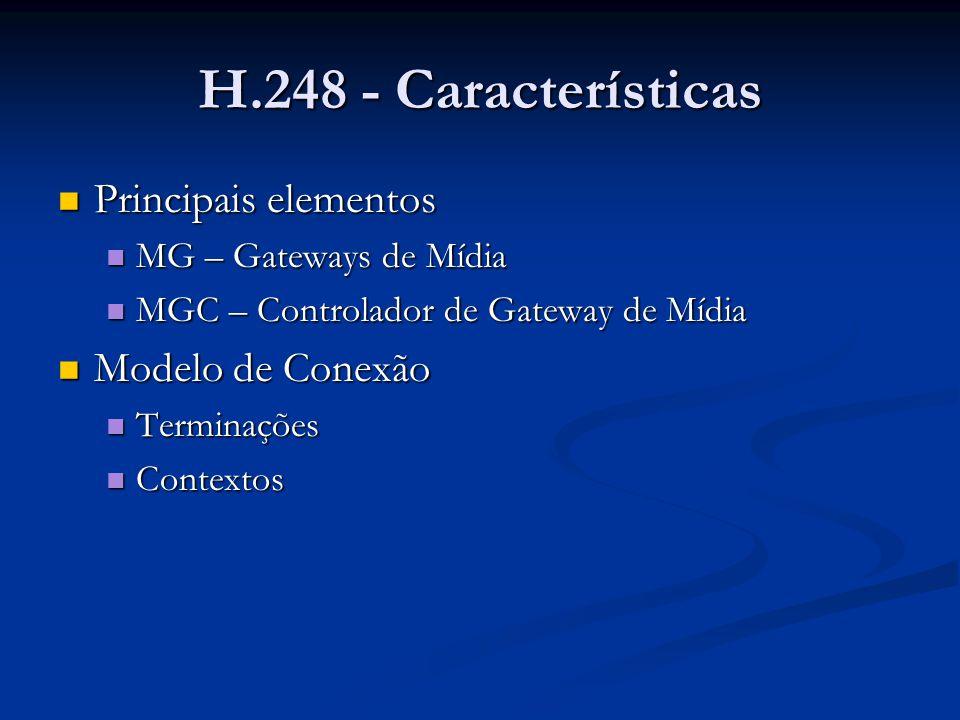 H.248 - Características Terminações Terminações Terminações representam streams entrando ou saindo de um MG.(Ex: linhas telefônicas analógicas, streams RTP, streams MP3) Terminações representam streams entrando ou saindo de um MG.(Ex: linhas telefônicas analógicas, streams RTP, streams MP3) Contextos: Contextos: Um Contexto é uma associação entre um número de Terminações.