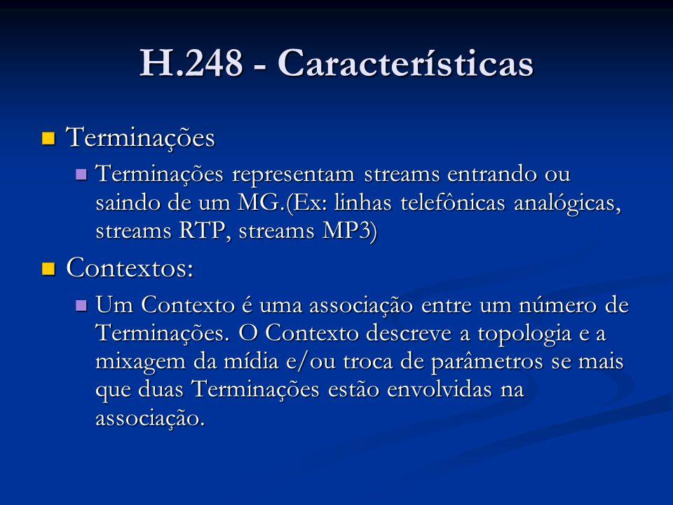 H.248 - Características Terminações Terminações Terminações representam streams entrando ou saindo de um MG.(Ex: linhas telefônicas analógicas, stream