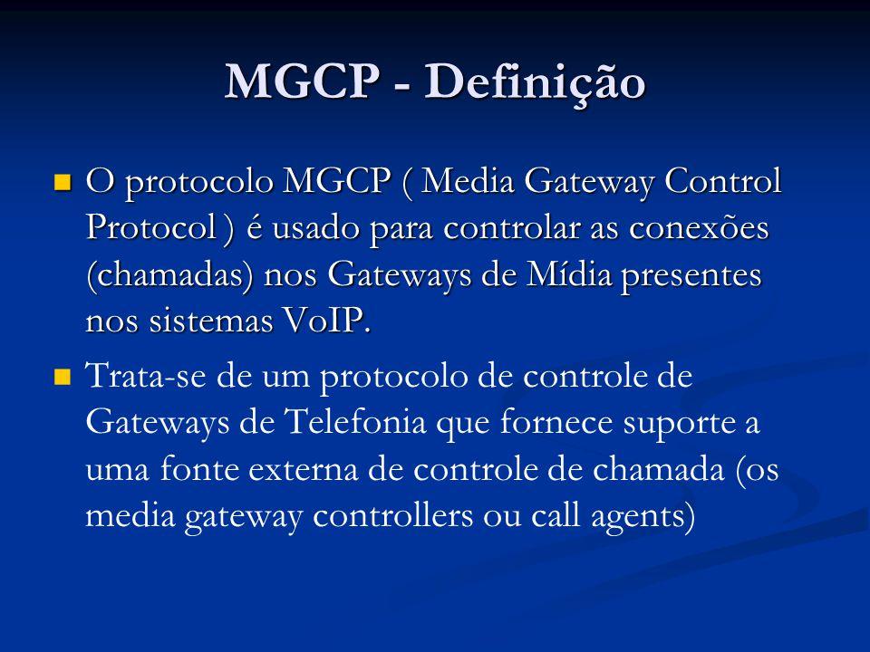O protocolo MGCP ( Media Gateway Control Protocol ) é usado para controlar as conexões (chamadas) nos Gateways de Mídia presentes nos sistemas VoIP. O