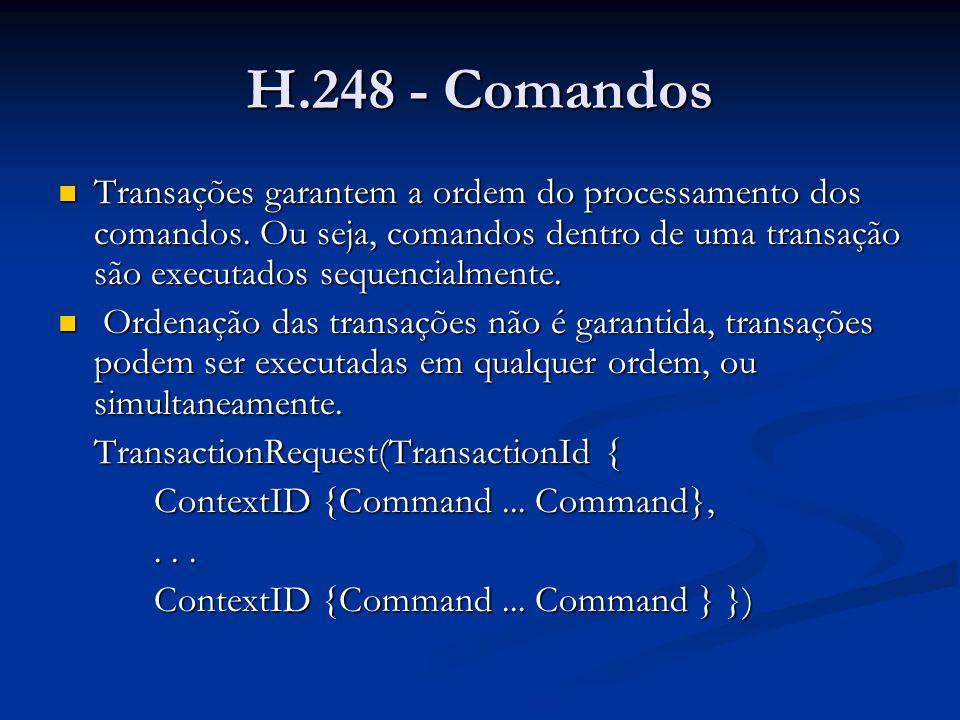 H.248 - Comandos Mensagens: Mensagens: Múltiplas transações podem ser concatenadas em uma mensagem.