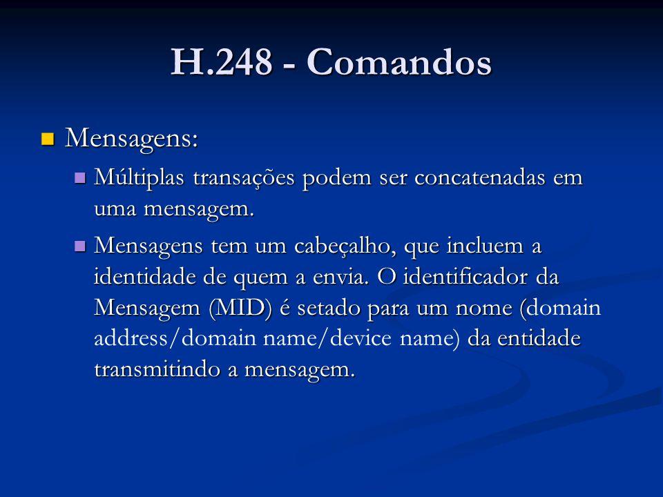 H.248 - Comandos Mensagens: Mensagens: Múltiplas transações podem ser concatenadas em uma mensagem. Múltiplas transações podem ser concatenadas em uma