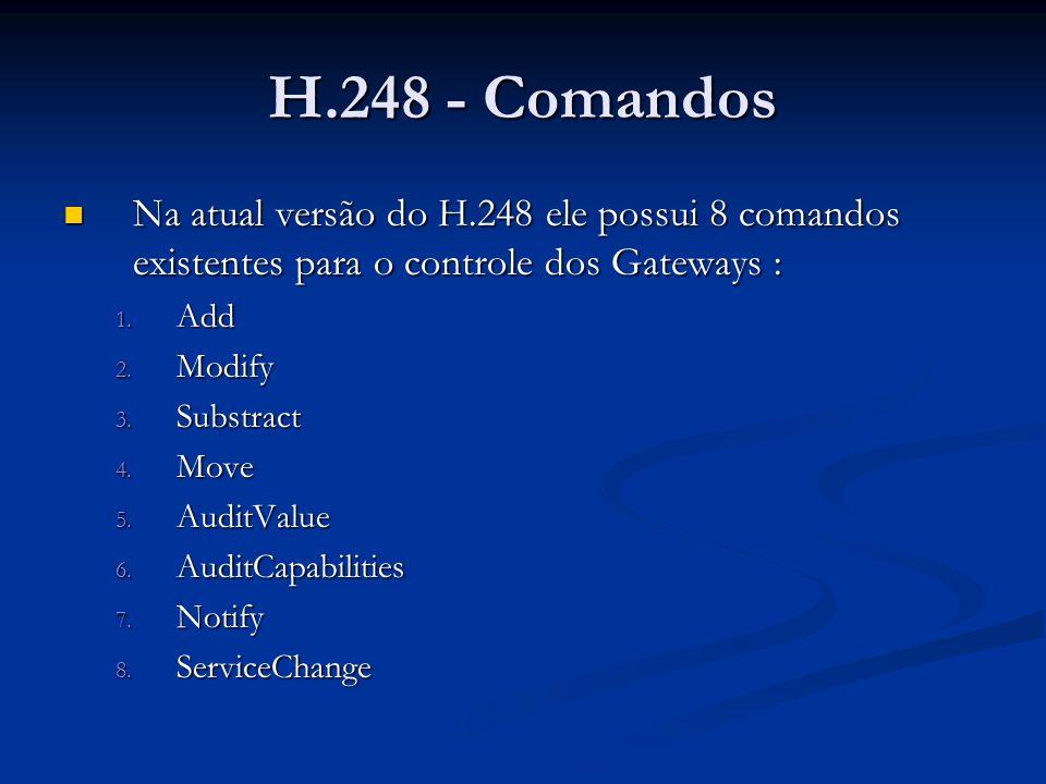 H.248 - Comandos Na atual versão do H.248 ele possui 8 comandos existentes para o controle dos Gateways : Na atual versão do H.248 ele possui 8 comand