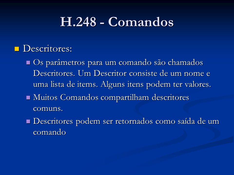 H.248 - Comandos Descritores: Descritores: Os parâmetros para um comando são chamados Descritores. Um Descritor consiste de um nome e uma lista de ite