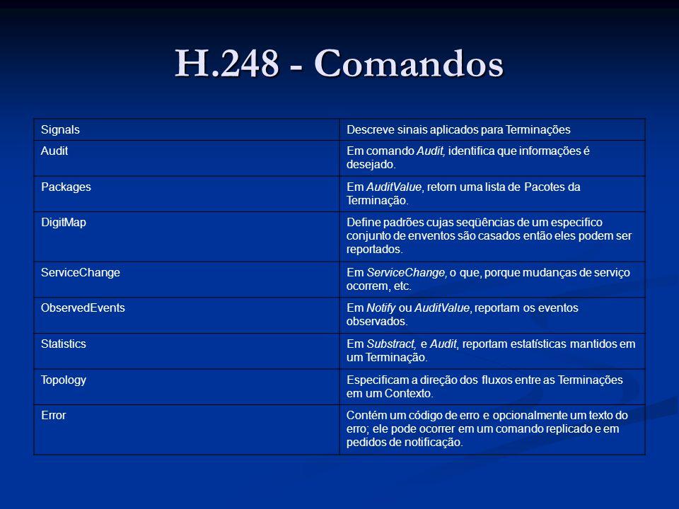 H.248 - Comandos SignalsDescreve sinais aplicados para Terminações AuditEm comando Audit, identifica que informações é desejado. PackagesEm AuditValue