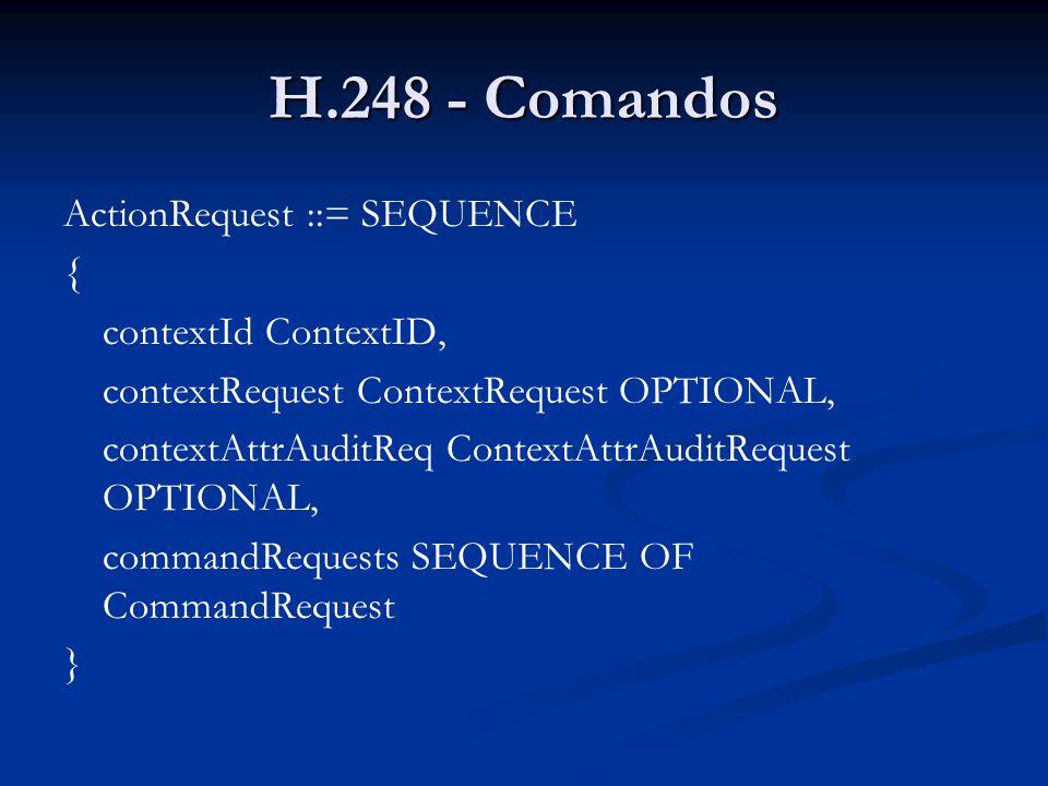 H.248 - Comandos ActionRequest ::= SEQUENCE { contextId ContextID, contextRequest ContextRequest OPTIONAL, contextAttrAuditReq ContextAttrAuditRequest